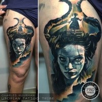 New school style colored thigh tattoo of evil witch