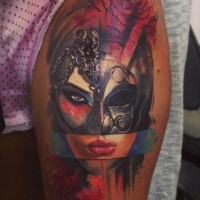 New School Style Colored Thigh Tattoo Of Woman With Helmet And Rose