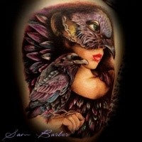 New school style colored thigh tattoo of woman with bird mask and crow