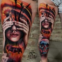 New school style colored thigh tattoo of woman face combined with flowers, ant and human skull