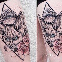 New school style colored thigh tattoo of cute wild fox with rose