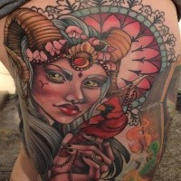 New school style colored thigh tattoo of demonic woman with little bird and flower
