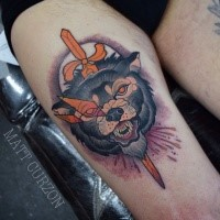 New school style colored thigh tattoo of bloody wolf head with sword