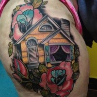 New school style colored thigh tattoo of old house with rose