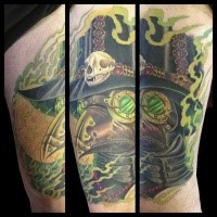 New school style colored thigh tattoo of plague doctor with cool looking hat