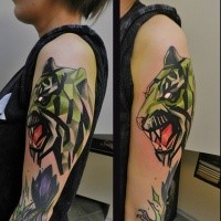 New school style colored upper arm tattoo of roaring tiger