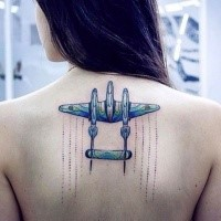 New school style colored upper back tattoo of cool fighter