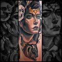 New school style colored woman portrait with big fish tattoo