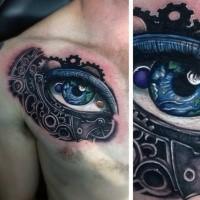 Neue Schule Stil buntes menschliches Auge Tattoo an der Brust mit mechanischen Teilen