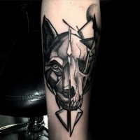New school style detailed tattoo of animal skull combined with wolf head