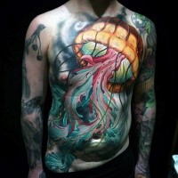 New school style large colorful whole chest and belly tattoo of big swimming jellyfish