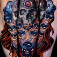 New school style mystical half human half animal tattoo with skull