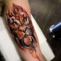 New school style sketch like colored biceps tattoo of lion head