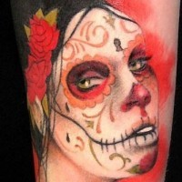 New style black red day of the dead girl tattoo