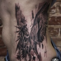 New style dark horse tattoo on ribs for girls