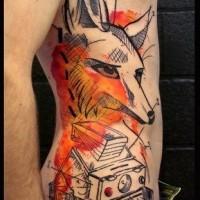 nuovo stile ritratto di volpe tatuaggio sulle costolette