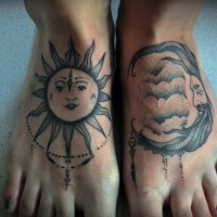 nuovo stile sole e luna tatuaggio da Kubach