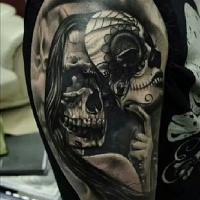 News school style black and white shoulder tattoo of monster woman with Mexican traditional mask