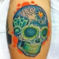 Nice blue green sugar skull tattoo