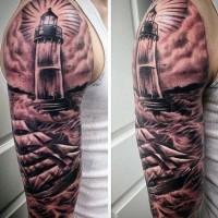 bel disegno nero e bianco faro con nave tatuaggio  amanicotto