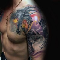 Nice detailed colored fantasy dragon tattoo on shoulder with eagle