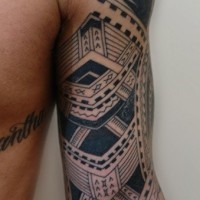 Nice detailed polynesian tattoo on full sleeve