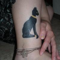 Nice egyptian cat  tattoo on leg