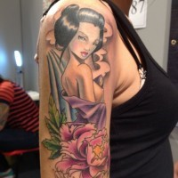 bella geisha pin up tatuaggio da Matt Difa