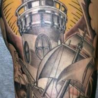 Nice lighthouse and ship tattoo