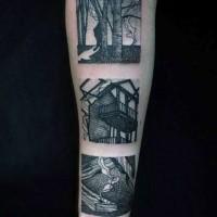 Un bel tatuaggio nero con avambraccio di immagini vintage