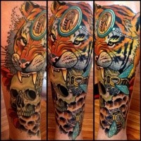 Nice looking colored arm tattoo of saint tiger and skull