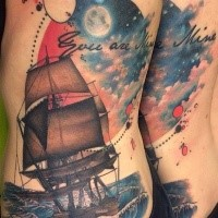 Nice looking colored side tattoo of sailing ship with big moon and lettering