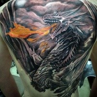 Nice looking illustrative style whole back tattoo of evil dragon