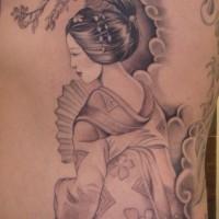 bel dipinto grande unico colore geisha Asiatica tatuaggio su lato