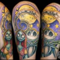 bellissimo dipinto colorato cartone animato di alieni orrore tatuaggio su spalla