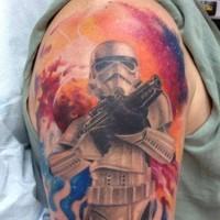 Tatuaje en el brazo, stormtrooper fantástico de la guerra de las galaxias