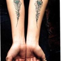 Tatuaggio semplice sulle mani la piuma del pavone