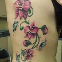 Schöne rosafarbige Orchideen mit Schmetterlingen Tattoo an Rippen
