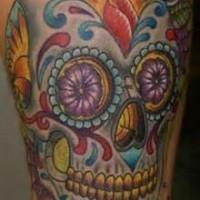 Nice sugar skull with dark purple rose tattoo