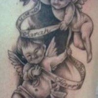 Nice two hovering cherubs tattoo