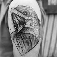 Nice very detailed black ink eagle pattern tattoo on shoulder zone