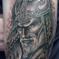 Nice viking in horned helmet tattoo