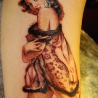 Nice vintage pin up girl in peignoir tattoo by Marco Firinu