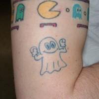 non verniciato fantasma semplice blu tatuaggio su braccio per ragazzo