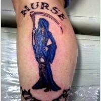 Nurse death tattoo on leg