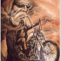Old biker on a motorcycle tattoo
