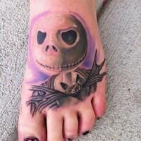 vecchio cartone colorato piccolo raccapricciante mostro tatuaggio su piede
