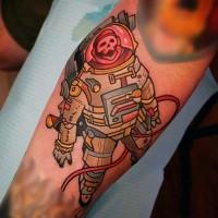 bello vecchio cartone animato colorato astronauta zombie scheletro tatuaggio su braccio