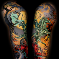Old cartoon like colorful sleeve tattoo of mystical knight horse rider