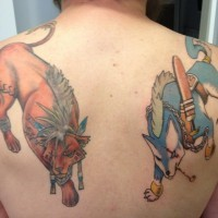 Old cartoon style incredible colored upper back tattoo of fantasy animal warriors